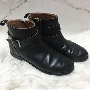 Zara Girls Black Leather Moto Ankle Booties 37